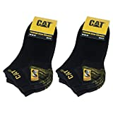 Caterpillar 6 Paar CAT Sneaker Herren-Arbeitsschutzsocken, doppelte Verstärkung an Zehen & Ferse, hochwertige Garne, Baumwollschwamm (Schwarz, 43-46)