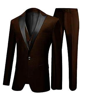 One Button 3 Pieces Brown Wedding Suits Notch Lapel Men Suits Groom Tuxedos Brown 40 Chest / 34 Waist