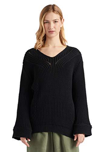 khujo Damen Pullover Nikki Grobstrick V-Ausschnitt Loose Fit 7/8-Ärmel einfarbig