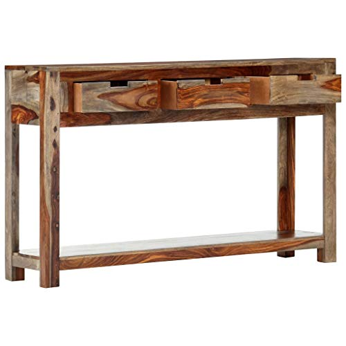 vidaXL Sheesham-Holz Massiv Konsolentisch mit 3 Schubladen Konsole Beistelltisch Sideboard Flurtisch Ablagetisch Flur Wohnzimmer 120x30x75cm