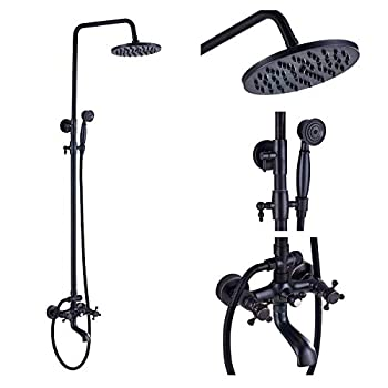 Rozin Wall Mounted Bath Rainfall Shower Set Tub Faucet with Handheld Spray Oil Rubbed Bronze