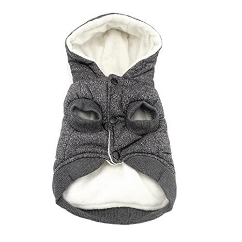 Capa de la chaqueta de perro abrigo de invierno para mascotas mascotas ropa caliente con forro polar sudaderas con capucha gris XXL, con capucha perro