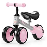 Kinderkraft Balance Bike Cutie, Lightweight Kids First Bicycle, Baby Walker, Trike, No Pedals, Steel Solid Frame, with Ajustable Seat, for Toddlers, from 1 Year Old to 25 kg, Pink