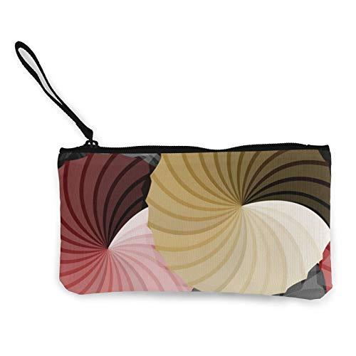 Monedero de lona con diseño de roseta de paraguas, bolsa de cosméticos con cremallera, bolsa de teléfono móvil con asa
