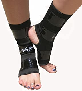 Mighty Grip Black Pole Dancing Ankle Protectors with Tack Strips for Gripping The Pole (1 Pair)