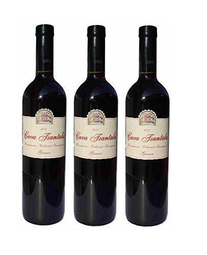 3x Tsantali Cava trockener Rotwein je 750ml griechischer Wein aus Makedonien Cabernet Sauvignon Xinomavro 3er Set + 10ml Sachet Olivenöl von Kreta zum testen