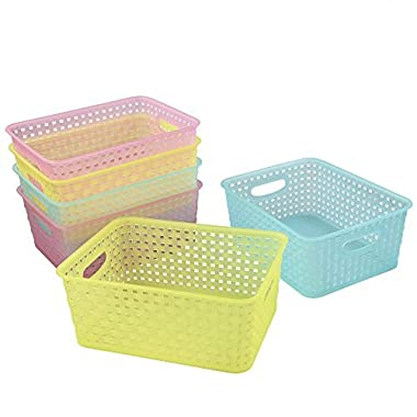 Cand Plastic Storage Baskets/Bins for Closets, Drawers, 6-Pack