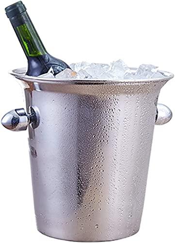 Cubo de Hielo Grueso de Acero Inoxidable práctico y Seguro, Cubo de Hielo portátil con Barra de Hielo para champán y Vino Tinto, Adecuado para Bebidas y Fiestas privadas Cubo de Hielo de 3L (11.5 *