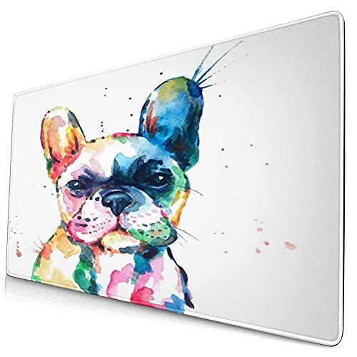 Alfombrilla de ratón 800X300mm,Frenchie Head Bulldog francés Original Acuarela Perro Fauna Arcoíris Divertido Cachorro Feliz Compañero,con Base de Goma Antideslizante para computadora