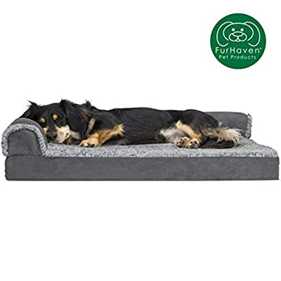 Furhaven Pet Dog Bed | Deluxe Orthopedic Two-Tone Plush Faux Fur & Suede L Shaped Chaise Lounge Living Room Corner Couch Pet Bed w/ Removable Cover for Dogs & Cats, Stone Gray, Medium