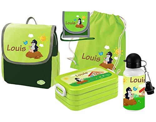 Mein Zwergenland Set 6 Kindergartenrucksack mit Brotdose, Turnbeutel, Trinkflasche und Brustbeutel Happy Knirps Next mit Name Maulwurf, 5-teilig, Grün