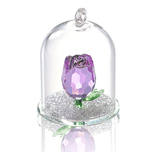 H&D Crystal Rose Flower Figurine Dreams Ornament in a Glass Dome Gifts for her (Purple)
