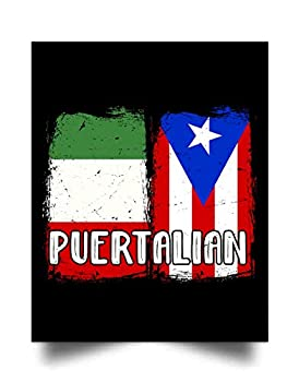Yuan Funny Puerto Rican and Italian Flag Design - Puertalian  24 x31   Wall Art Print Poster Home Decor