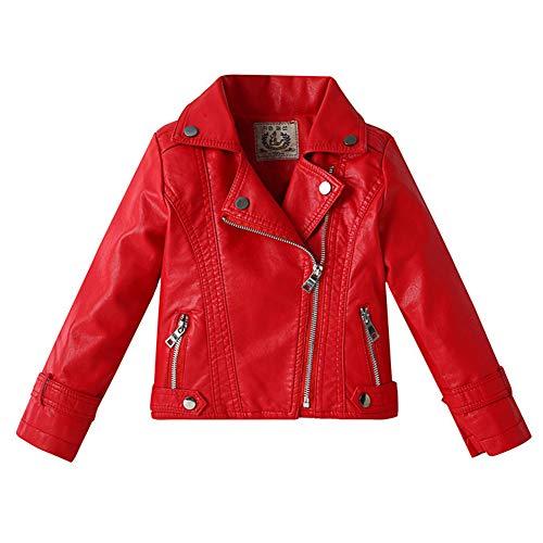 LPATTERN Enfant Garçon Fille Jacket Veste en Similicuir Printemps Automne Blouson Motard Perfecto en Imitation Cuir Rouge 140/9-10 Ans