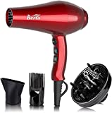 Professional Infrared Ionic Hair Dryer,Powerful 1875 Watt Salon Grade Blow Dryer,Long-life DC Motor,Lightweight and Low Noise Hair Dryer With Removable Air Filter,Concentrator,Cola Red