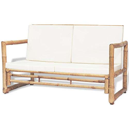 Gecheer 2-Seater Garden Sofa with Soft Padded Cushions and Armrest Bamboo Loveseat Couch Outdoor Bench for Backyard Balcony Poolside Furniture 45.3 x 25.6 x 28.3 Inches (W x D x H)