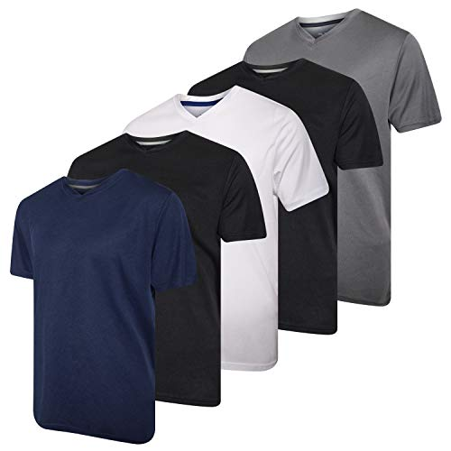5 Pack:Men's V Neck Quick Dry Fit Dri-Fit Short Sleeve Active Wear Training Athletic Essentials T-Shirt Tee Fitness Gym Workout Undershirt Top-Set 3,L