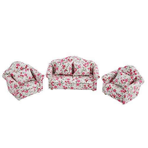 Sofá de casa de muñecas, 1: 12 simulación en Miniatura con diseño de Flores, Juego de sofás con Cojines Traseros, Modelo de Juguete para Jardines de Hadas, (Pequeños racimos de Flores)
