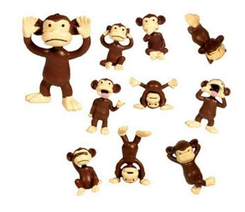 MM Monkeys 24 Figures Plastic Small Brown Funny Miniature Figurines