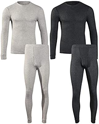 Beverly Hils Polo Club Men's Long Johns Waffle Thermal Underwear Base Layer Set (2 Full Sets), Heather Grey/Heather Charcoal, Large