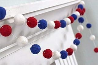 "American Flag Felt Ball Garland- Red, White, Royal Blue- 1"" (2.5 cm) Wool Felt Balls"