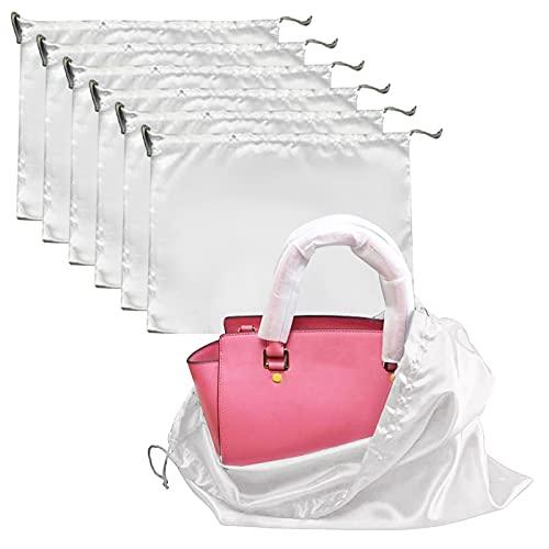 stallry 6 bolsas de polvo de tela de seda a prueba de polvo con cordón, bolsas de almacenamiento portátiles para bolsos, bolsos, zapatos, color blanco