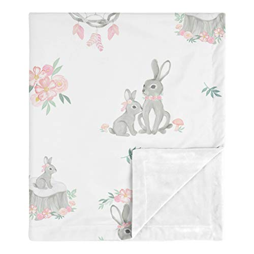 Sweet Jojo Designs Woodland Bunny Baby Girl Receiving Security Swaddle Blanket for Newborn or Toddler Nursery Car Seat Stroller Soft Minky - Blush Pink and Grey Boho Floral Watercolor Rose Flower