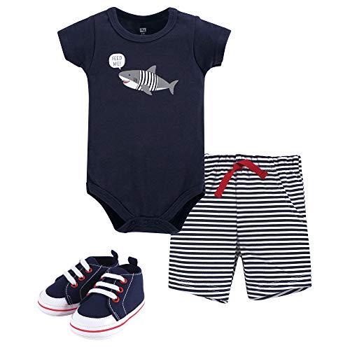 Hudson Baby Unisex Baby Cotton Bodysuit, Shorts and Shoe Set, Blue Shark, 12-18 Months