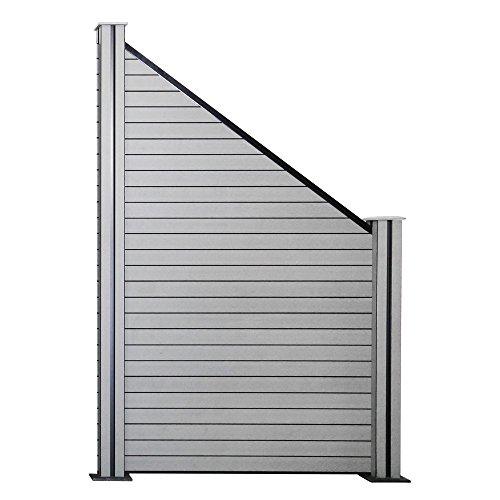 Hengda® WPC Zaun Sichtschutz Aluminium Windschutz Gartensichtschutz Quadratisch Zaunfelder Grau Sonnenschutz Dichtzaun Für Terrasse Balkon Schwimmbad