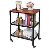 Carrito de almacenamiento de 3 niveles, estantería móvil para cocina, baño, dormitorio, organizador multiusos (marrón)