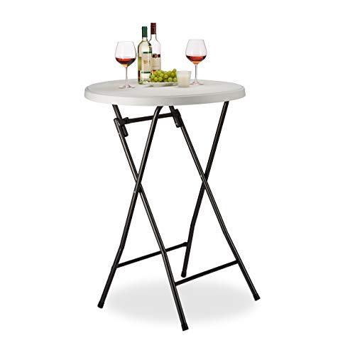 Relaxdays Stehtisch klappbar rund, Bistrotisch HxBxT: 110 x 80 x 80 cm, Kunststoff, Wetterfest, Metallgestell, weiß