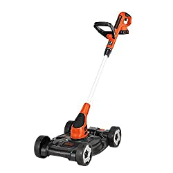 commercial BLACK + DECKER 3-in-1 lawn mower, thread trimmer, edge trimmer, 12 inches (MTC220) cordless lawn mowers