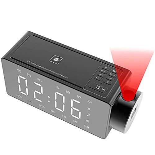 QAIYXM Projektions-Wecker Bluetooth-Lautsprecher mit Wireless-Charging DIY Klingelton, One-Click Snooze, Bluetooth Anruf Lautsprecher, FM Radio, TF-Karten-Eingang (Farbe: Schwarz),A