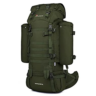 Mardingtop 65+10L Internal Frame Backpack Tactical Military Molle Rucksack for Hunting Shooting Camping Hiking Traveling Army Green