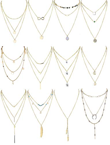 Finrezio 12 Pièces Collier Multirangs pour Femme Long Ras De Cou Collier Pendentif Plumes Lune Or