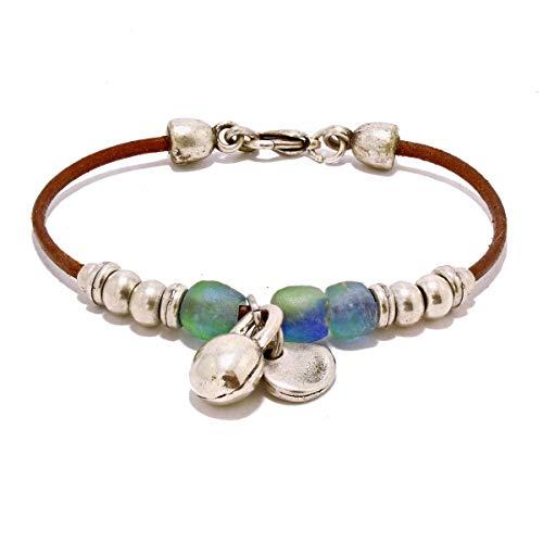Lederarmband mit Perlen Zamak und afrikanische Recycling-Glas, von Intendenciajewels - Armbänder zamak Frau - Handgemachter Schmuck - Armbänder Boho