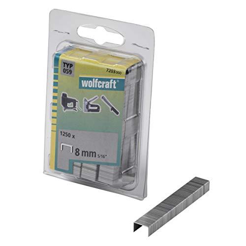Wolfcraft 7203000 (L) grapas de lomo ancho, tipo 059 PACK 1250, 8mm, Set Piezas, plata