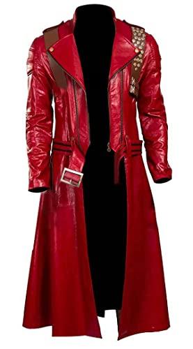 EU Fashions DMC Devil May Cry 5 Dante Cosplay Kostüm Roter Mantel, Aus Echtleder, XL