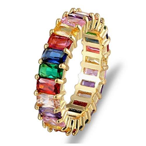 KR hongda ringen dunne rechthoekige vrouwen regenboog gouden ring voor mode-verloving trouwringen glamour sieraden 8 R2