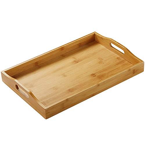 Bandeja rectangular de bambú para servir de mayordomo, bandeja de madera con asas, ideal para bandejas de cena, bandeja de té, bandeja de bar, bandeja de desayuno (1 Pack)