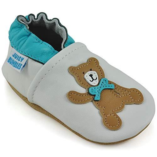 Juicy Bumbles - Weicher Leder Lauflernschuhe Krabbelschuhe Babyhausschuhe mit Wildledersohlen. Junge Mädchen Kleinkind- Gr. 12-18 Monate (Größe 22/23)- Teddybär