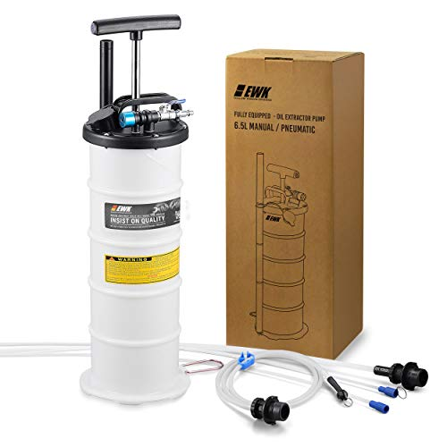EWK Plus ver. 6.5L Pneumatic/Manual Oil Extractor Pump for Automobile Fluids Vacuum Evacuation + Brake Bleeder Hose