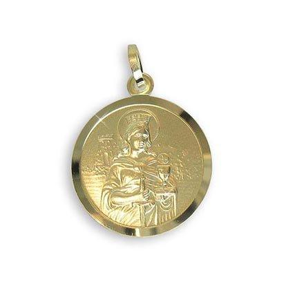 Echt 8 Karat Gold 333 Heilige Barbara Medaille Patronin der Bergleute Durchmesser 14mm (213062) Gratis Express Gravur
