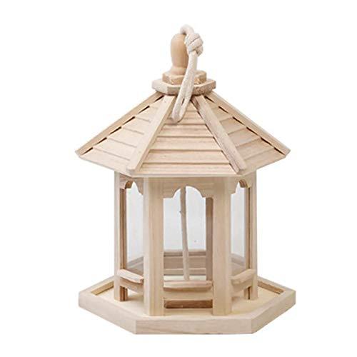 ZXY Madera Comedero para Pájaros Colgante Comedero Semillas Aves Silvestres Colgante Comedero Jardín Yarda Decoración - Madera Color,Wood Color
