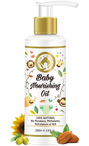 Mom & World Baby Nourishing Oil for Baby Massage - 200ml (with Almond, Grapeseed, Wheatgerm, Olive & Coconut Oils)