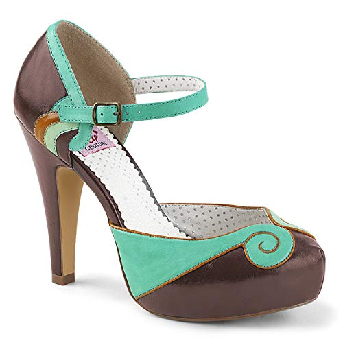 Pin Up Couture BETTIE-17 Teal-Brown Faux Leather UK 2 (EU 35)