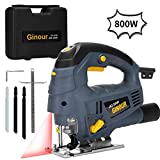 Jig Saw, Ginour 800W 3000RPM, Compact Jigsaw with 7 Variable Speed,...