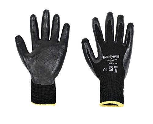 Honeywell 2232231-09 Perfect Fit Handschuh, Polytril Schwarz, Größe 9, Packung mit 10 Stück