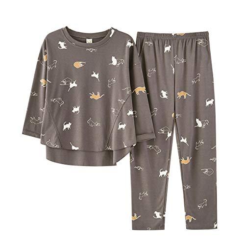 GOSO - Pigiama in 2 pezzi per ragazze dagli 8 ai 14 anni, adorabile pigiama con stampa a motivo cartoni animati, pantaloni lunghi, per adolescenti di taglia forte Grigio scuro 10-11 Anni
