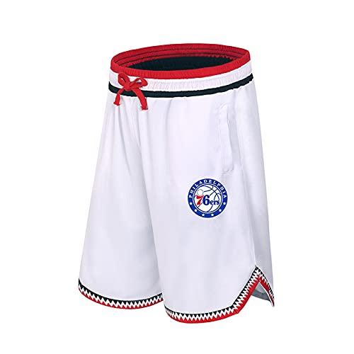 JZEL 76ers Pantalones cortos deportivos de baloncesto Elite de secado rápido transpirable Running Fitness Training Loose Cinco puntos Pantalones Blanco-XXXL
